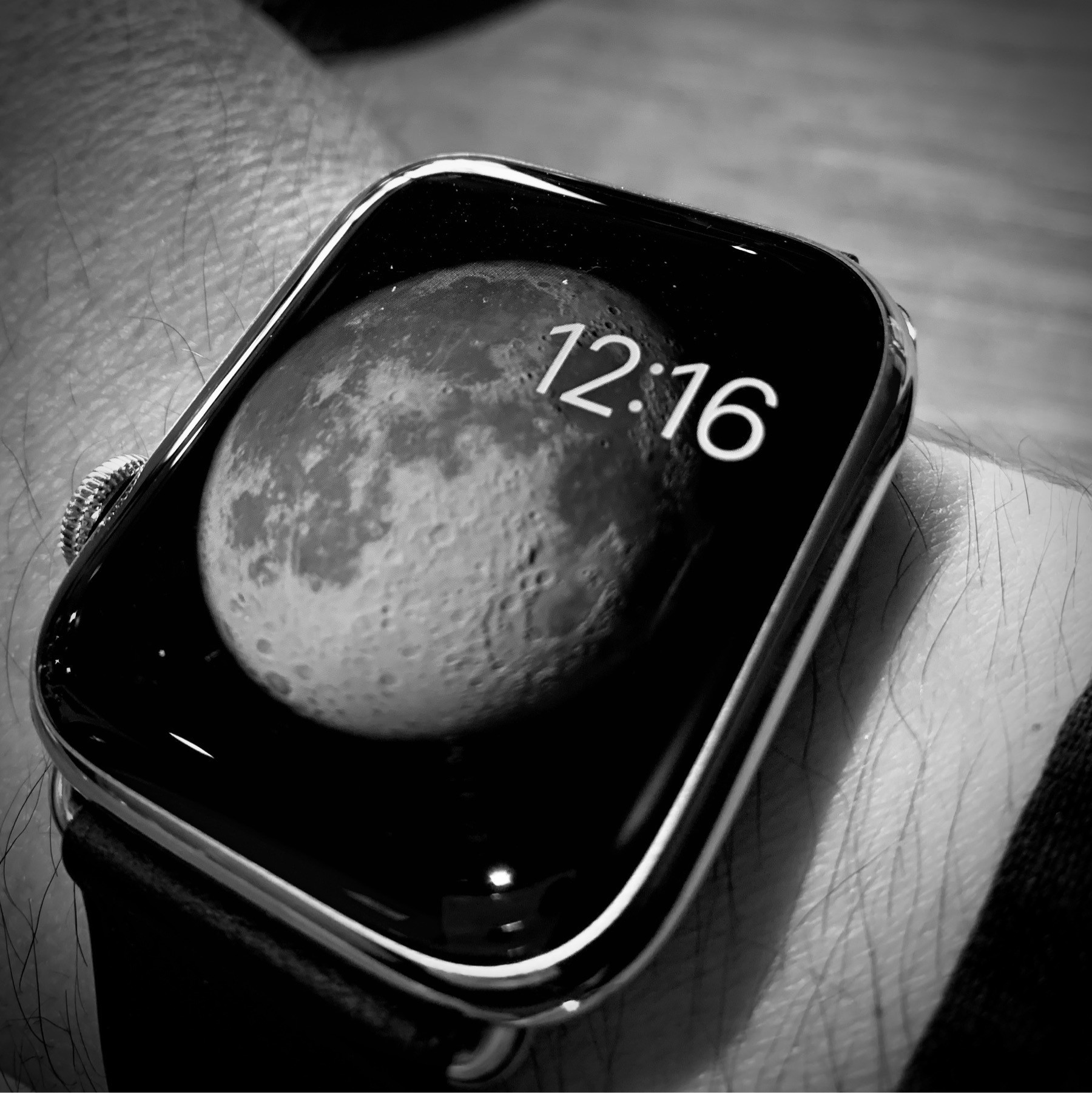 Apple Watch with Moon watch face.