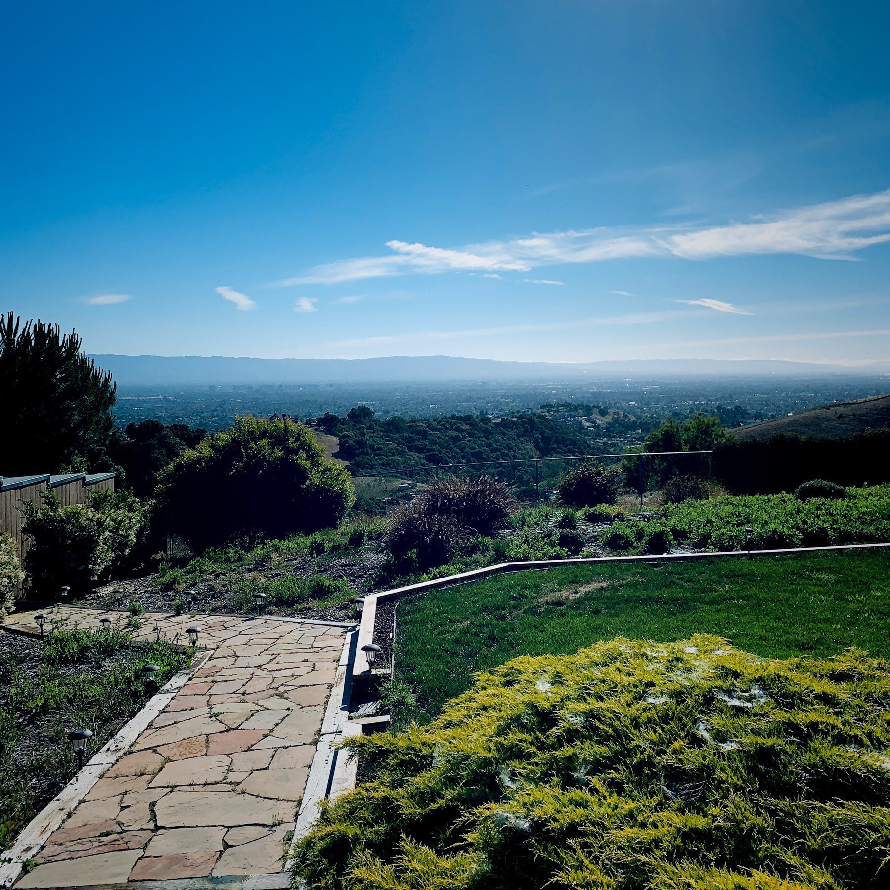 Landscape of the San Jose valley area with blue sky.