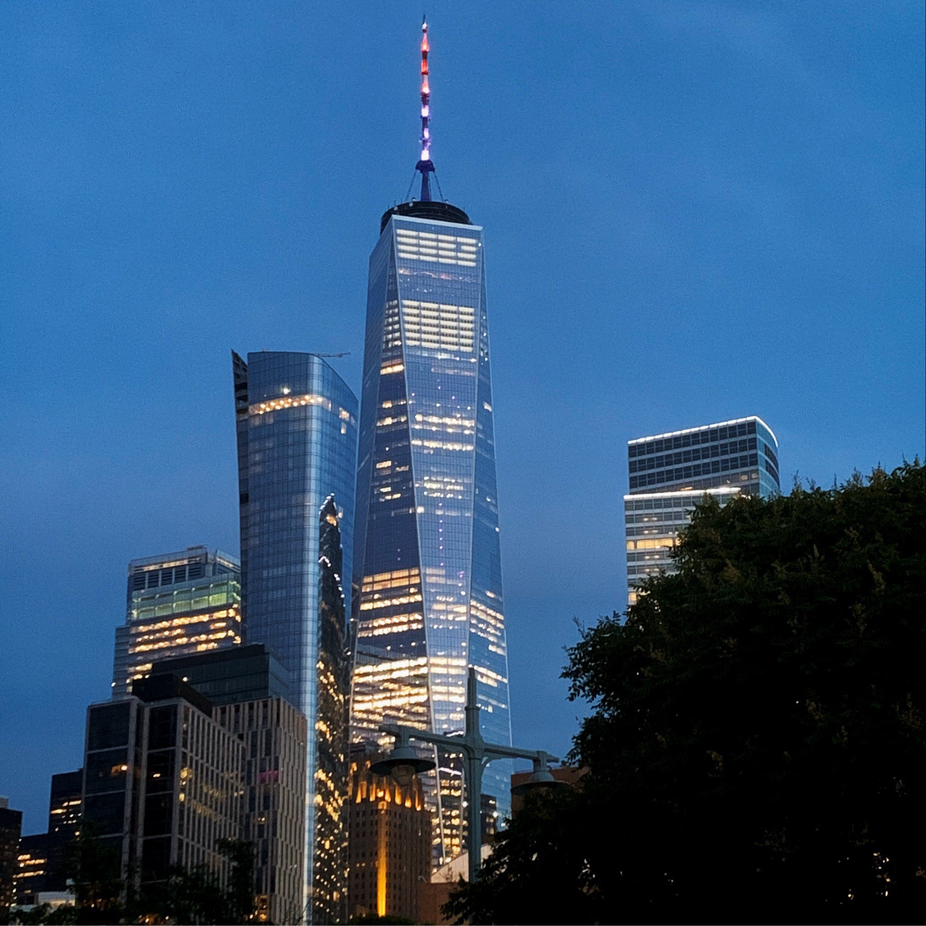 Evening view of One World Trade Center from north west.