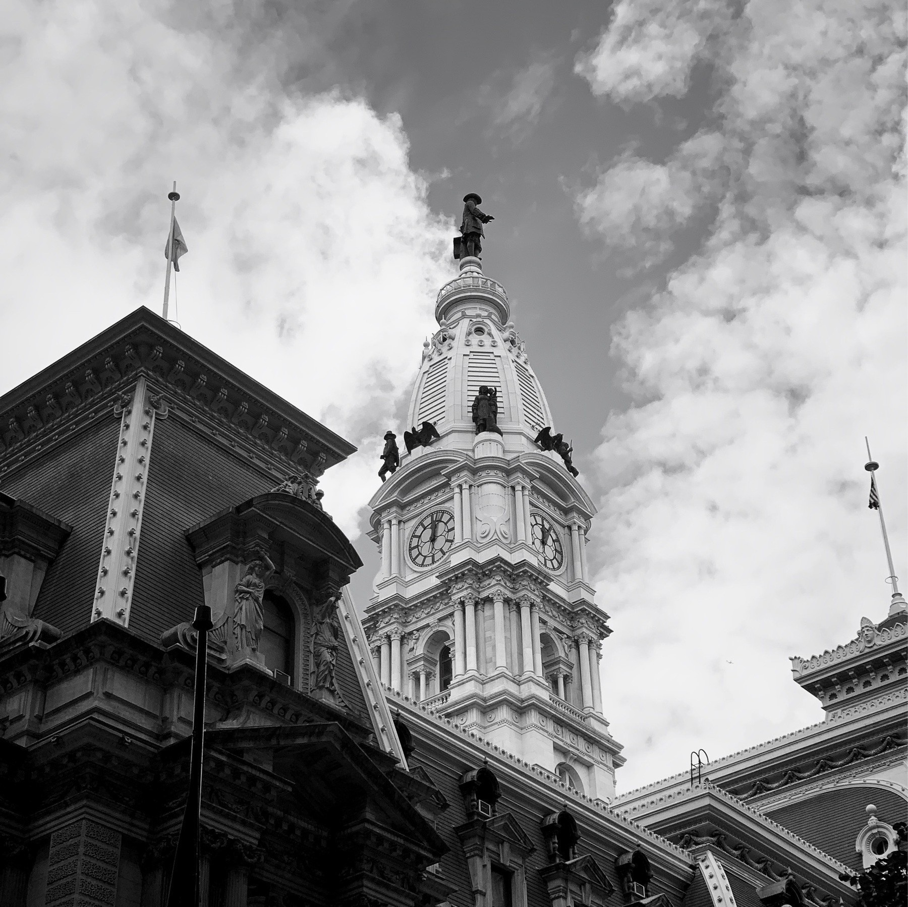 Middle tower of Philadelphia city hall, statue of William Penn on top.
