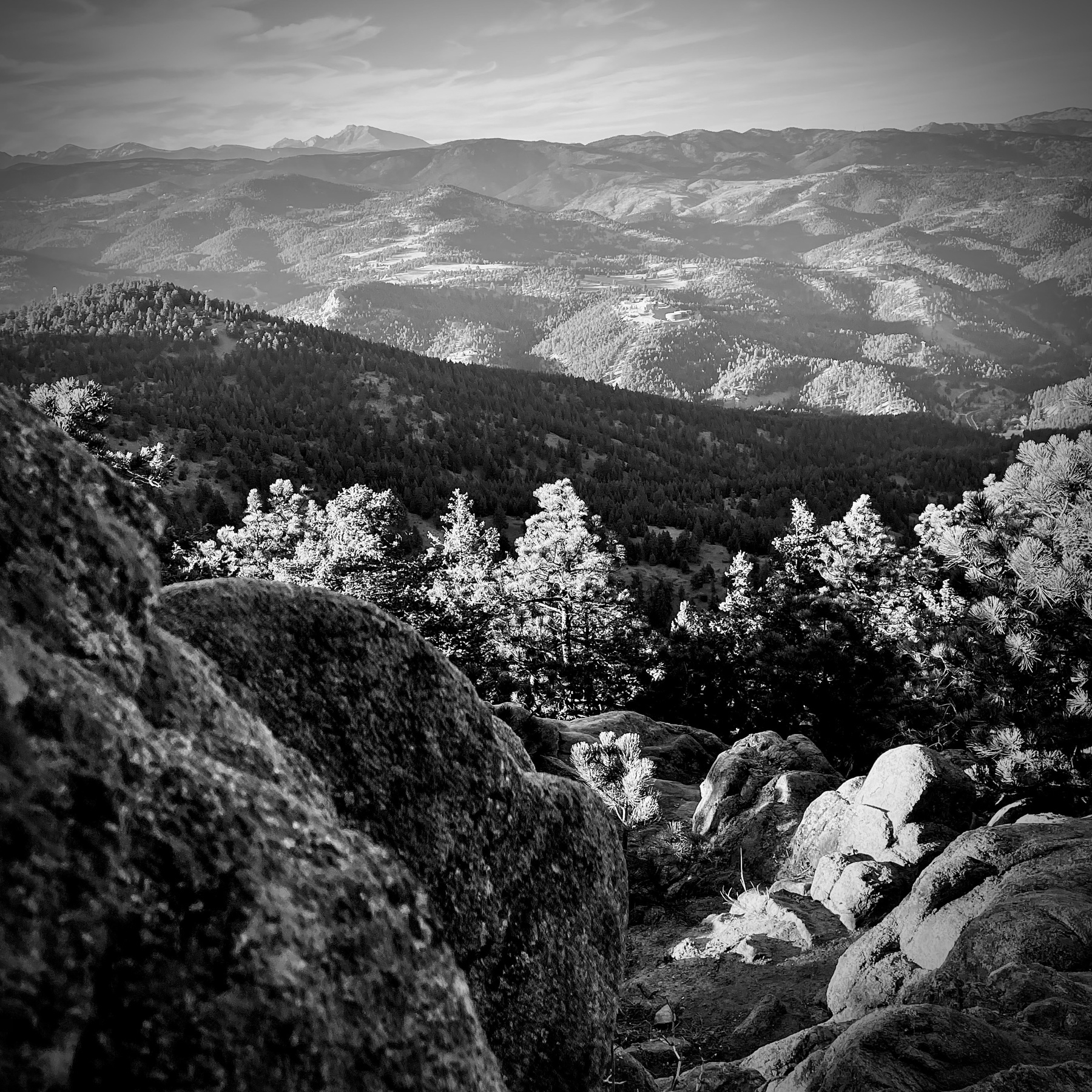 Black and white vista of Rocky Mountains.