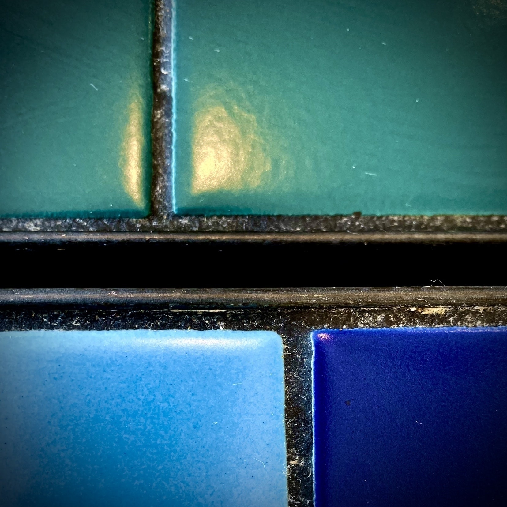 Tabletop tiles in green and blue