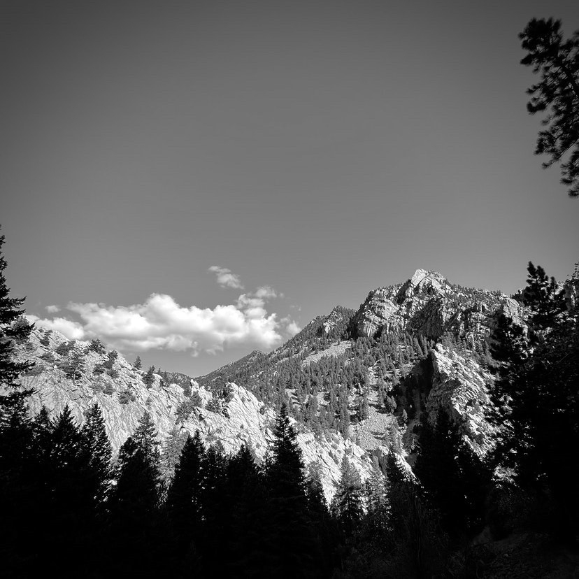 Black and White canyon with clear sky.
